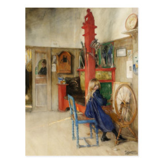 Vintage Little Girl at Spinning Wheel Postcard