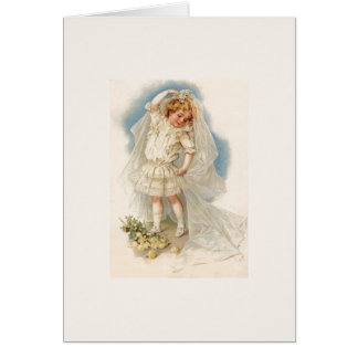Vintage Little Girl Bride Wedding Note Card