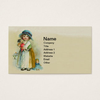 Vintage Little Girl Chubby Cheeks Hat Dolls Business Card