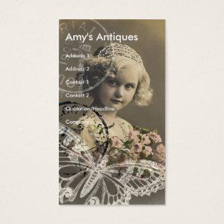 Vintage Little Girl Digital Art Business Card