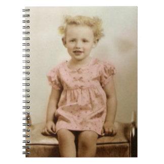 Vintage little girl in pink dress spiral notebook