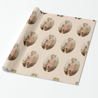 Vintage little girl in pink dress wrapping paper