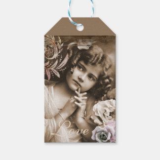 Vintage Little Girl Love Quote Gift Tags