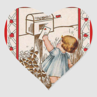Vintage Little Girl Mailing Valentine Sticker