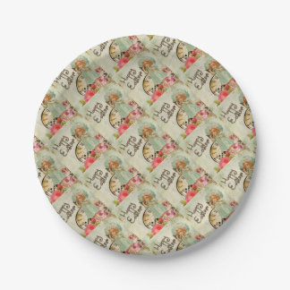 Vintage Little Girl on Phone Floral Happy Easter Paper Plate