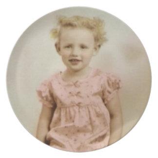 Vintage little girl pink dress melamine plate