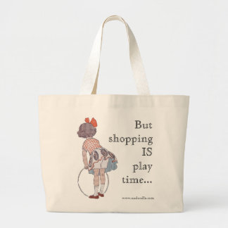 Vintage Little Girl Playing - Jumbo Tote Bag