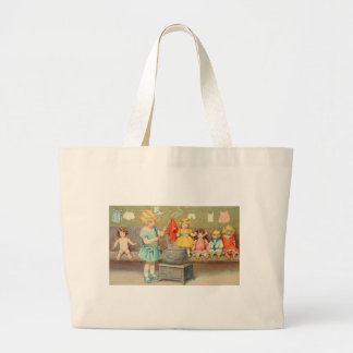 Vintage Little Girl Playing With Dolls Large Tote Bag