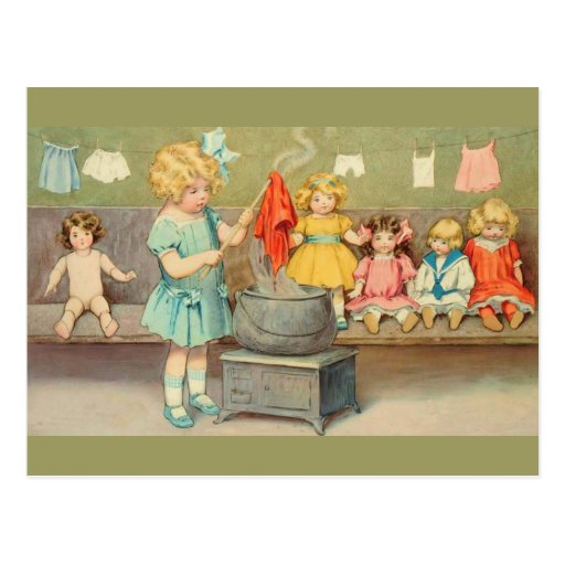 Vintage Little Girl Playing With Dolls Postcards