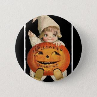 Vintage Little Girl with Big Halloween Pumpkin 6 Cm Round Badge
