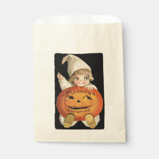 Vintage Little Girl with Big Halloween Pumpkin Favour Bags