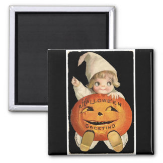 Vintage Little Girl with Big Halloween Pumpkin Magnet