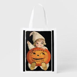 Vintage Little Girl with Big Halloween Pumpkin Reusable Grocery Bag