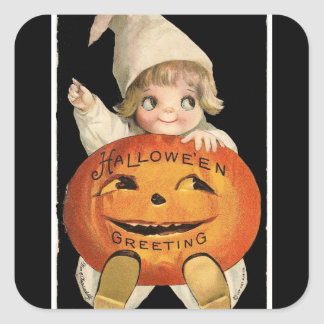 Vintage Little Girl with Big Halloween Pumpkin Square Sticker