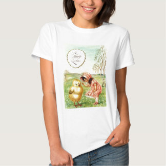 Vintage Little Girl With Chick Easter Card T-shirts