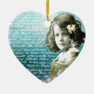 Vintage little girl with guardian angel ceramic heart decoration