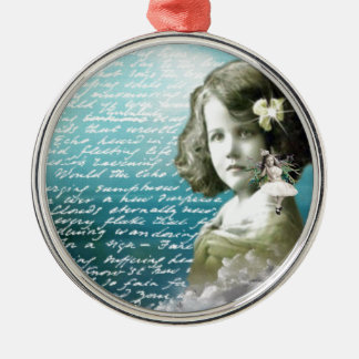 Vintage little girl with guardian angel metal ornament
