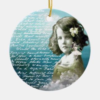 Vintage little girl with guardian angel round ceramic decoration