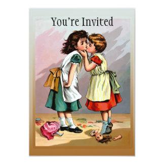 Vintage Little Girls Doll Quarrel 5x7 Paper Invitation Card