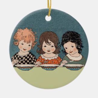 Vintage Little Girls Eating Soup Three Sisters Round Ceramic Decoration