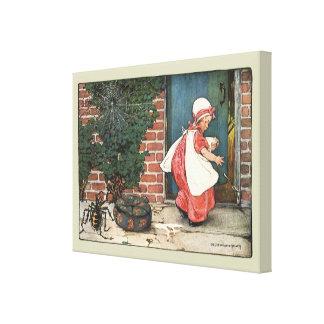 Vintage Little Miss Muffet Spider Nursery Rhyme Gallery Wrap Canvas