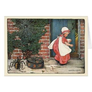 Vintage Little Miss Muffet Spider Nursery Rhyme Card