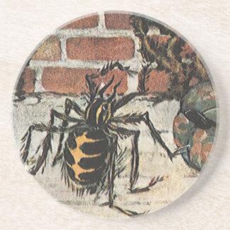 Vintage Little Miss Muffet Spider Nursery Rhyme Drink Coaster