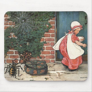 Vintage Little Miss Muffet Spider Nursery Rhyme Mouse Pads