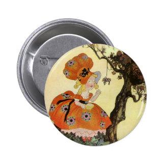 Vintage Little Miss Muffet w Spider Nursery Rhyme Buttons