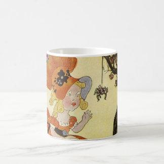 Vintage Little Miss Muffet w Spider Nursery Rhyme Mugs