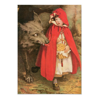 Vintage Little Red Riding Hood and Big Bad Wolf 13 Cm X 18 Cm Invitation Card