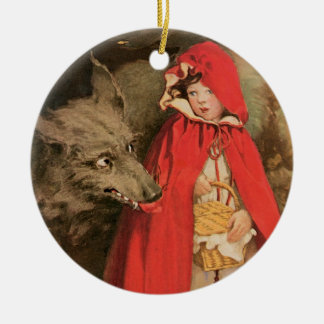 Vintage Little Red Riding Hood and Big Bad Wolf Round Ceramic Decoration