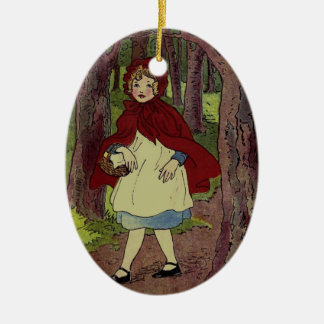 Vintage Little Red Riding hood book art Christmas Ornament