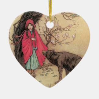 Vintage Little Red Riding Hood by Warwick Goble Ceramic Heart Decoration
