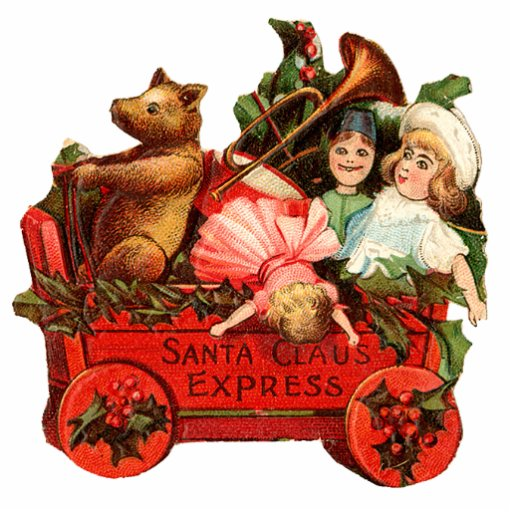 Vintage Little Red Wagon Christmas ornament Photo Cut Outs