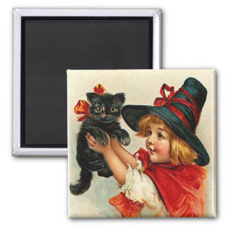 Vintage Little Witch and Black Cat Magnets