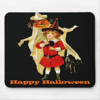 Vintage Little Witch and Cat Mousepad