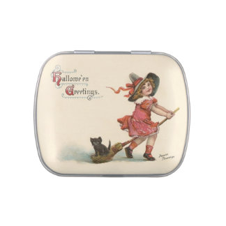Vintage Little Witch Halloween Candy Tin