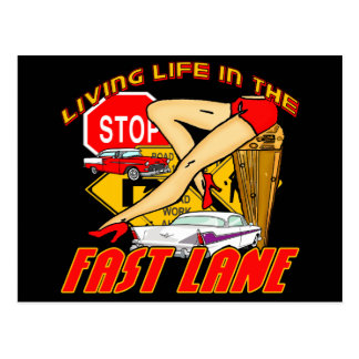 Vintage Living Life In The Fast Lane Postcard