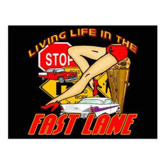 Vintage Living Life In The Fast Lane Postcard