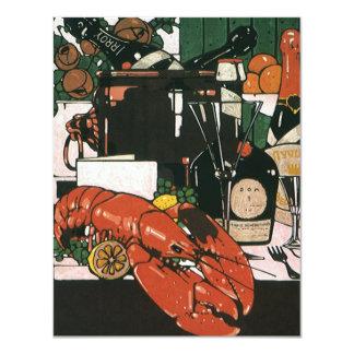Vintage Lobster Fest Champagne; Elegant Party 11 Cm X 14 Cm Invitation Card