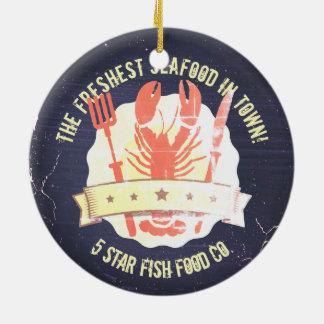 vintage lobster fork knife chalkboard Christmas Ceramic Ornament
