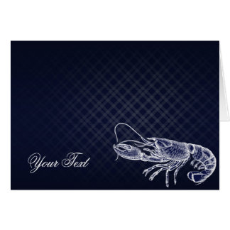 Vintage Lobster Navy Blue Elegant Chic Thank You Card