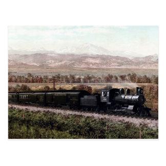 Vintage locomotive, Colorado Rocky Mountains Postcard