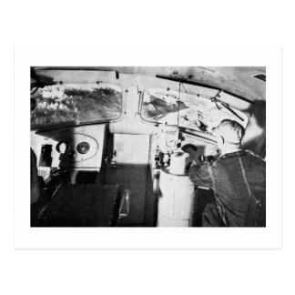 Vintage Locomotive Engineer Inside the Cab Postcard