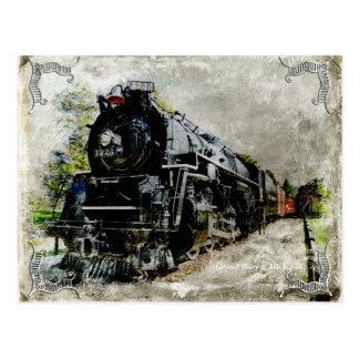 Vintage Locomotive Long Shot Postcard