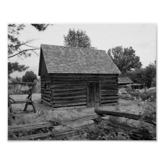 Vintage Log Cabin Black And White Photo Poster