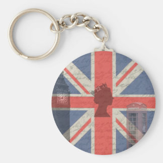Vintage London Basic Round Button Key Ring
