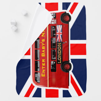 Vintage London Double Decker Bus Baby Blanket