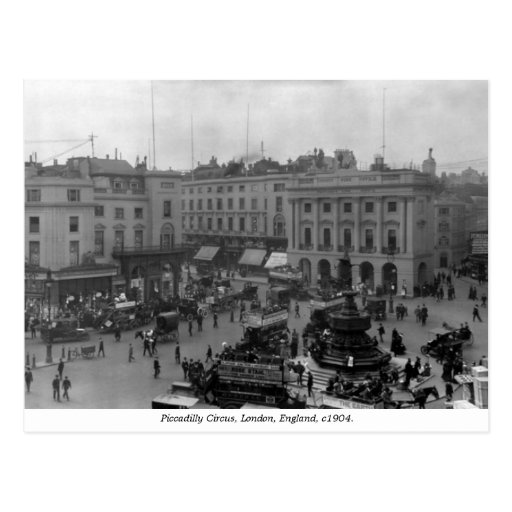 Vintage London England, Piccadilly Circus panorama Post Cards